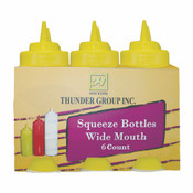 24 OZ WIDE-MOUTH SQUEEZE BOTTLE, YELLOW (6PK)