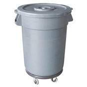 TRASH CAN, 32 GALLON, PLASTICS, GREY