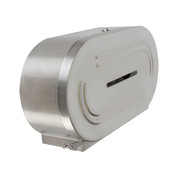TWIN JUMBO-ROLL TOILET TISSUE DISPENSER, 18/8 STAINLESS STEEL