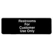 """9"""" X 3"""" INFORMATION SIGN WITH SYMBOLS, RESTROOM FOR CUSTOMERS USE ONLY"""