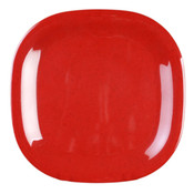 "11"" X 11"" ROUND SQUARE PLATE, PASSION RED"