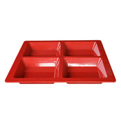 """60 OZ, 13 1/2"""" X 13 1/2"""" X 1 3/8"""", SQUARE 4 SECTION COMPARTMENT TRAY, PASSION RED"""