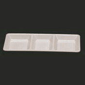 "28 OZ, 15"" X 6 1/4"" X 1 3/8"", RECTANGULAR 3 SECTION COMPARTMENT TRAY, PASSION WHITE"