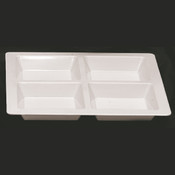 "60 OZ, 13 1/2"" X 13 1/2"" X 1 3/8"", SQUARE 4 SECTION COMPARTMENT TRAY, PASSION WHITE"