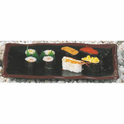 "11 1/4"" X 7 1/4"" WAVE RECTANGULAR PLATE, TENMOKU"
