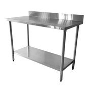 "24""X48""X35"", 430 STAINLESS STEEL WORKTABLE, FLAT TOP WITH 4"" BACKSPLASH"