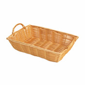 "12"" X 8"" X 3"" HAND-WOVEN BASKET W/HANDLE, PLASTIC"
