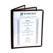 """3 PAGE BOOK FOLD MENU COVER, 8 1/2"""" X 11"""", BROWN"""