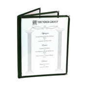 "3 PAGE BOOK FOLD MENU COVER, 8 1/2"" X 11"", GREEN"