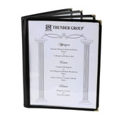 "4 PAGE BOOK FOLD MENU COVER, 8 1/2"" X 11"", BLACK"