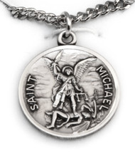 Round Sterling Saint Michael Medal