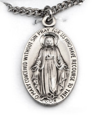 "Sterling Miraculous Medal 24"" Chain"
