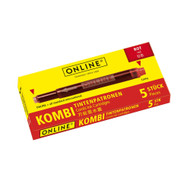 Online Fountain Pen Pack Of 5 Combo Ink Cartridges Red