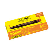 Online Fountain Pen Pack Of 5 Combo Ink Cartridges Orange