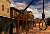 Old West Town Cowboys Good Day For A Hanging Photograph