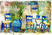 Pictorial Details Of Greece  Greek Old Chairs In Taverna- Retro Styled Photograph