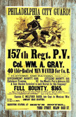 Civil War Recruiting Postr 147th .Regt. Full Bounty Old Wood Sign 11 x 17 X 1