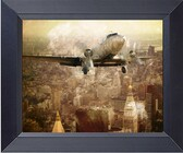 Dc 3 Vintage Plane Flies Close To Manhattan Buildings New York City 1940s Photo Art Collage