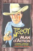 Tim McCoy Man of Action Movie Poster Old Wood Sign 11 x 17 X 1