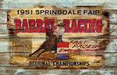 Barrel Racing 1951 Springdale Fair Old Wood Sign 11 x 17 X 1