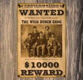 Butch Cassiday The Wild Bunch Wanted Poster 11 x 11 Old Wood Sign  11 x 11 X 1