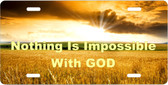 License Plate Nothing Is Impossible With God Car Accessories