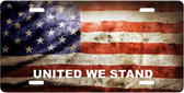 American Flag United We Stand Motivational License Plate