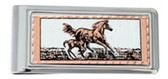 Copper and Daimond Cut Horse and Foal Money Clip Horse Gifts