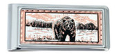 Copper and Daimond Cut Grizzly Bear Mountain Scene Money Clips