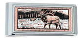 Copper and Daimond Cut Elk and Mountains Scene Money Clip