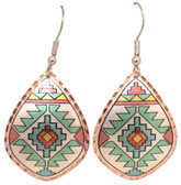 All Copper Aztec Indian Design Copper Earrings