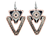 All Copper Aztec Triangle Desing Earrings