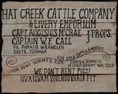 Lonesome Dove Fine Hat Creek Cattle Co. Old Tin Sign.  11 x 14 Inches