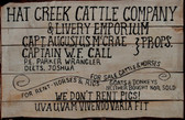 Lonesome Dove Fine Hat Creek Cattle Co. Old Tin Sign.  8 x 12 inches  Inches