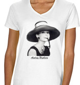 Audrey Hepburn  t Shirt Pink Breakfast At Tiffany's  White