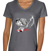 Audrey Hepburn & Marilyn Monroe Take A Selfie Ladies T shirt  Charcoal