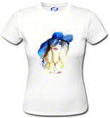 Blue Hat For the Derby Ladies T shirt  Watercolor Painting