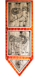 "Wall Art of Kandyan Art - Free Hand Fabric Art - 40"" (H) x 14"" (W)"
