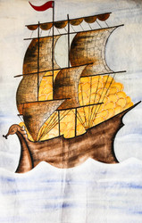 "Fabric Wall Art of a Yatch with Wooden Frame - 30"" H x 22"" W"