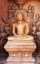 Statue of the Gautama Buddha Receiving the venerantion of Divine Beings