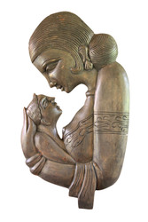 Mother and a Baby - Wooded Carved Wall Hanger