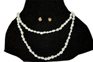 Handmade Natural Seashells Necklace & Earings - Pearl white