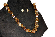 Coral Stoned Necklace, Brown