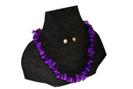Coral Stoned Necklace - Purple w/ear Studs