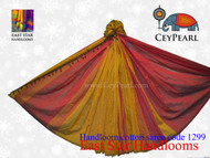 Handloom Cotton Saree - 1299 - Burgundy, Gold & Texas Orange