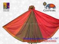 Handloom Cotton Saree - 1297 - Orange, Lime & Hot Pink