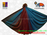 Handloom Cotton Saree - 1286 - Maroon, Cardinal & Turquoise