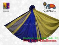Handloom Cotton Saree - 1275 - Lime, Silver & Royal Blue