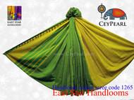 Handloom Cotton Saree - 1265 - Lime & Raven Gold