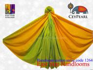 Handloom Cotton Saree - 1264 - Tennessee Orange, Lime & Raven Gold
